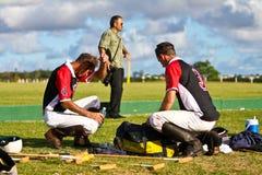 Männlicher Polo-Spieler exhasuted nach dem Spiel Lizenzfreies Stockbild