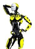 männlicher Roboter der Wiedergabe-3D auf Weiß lizenzfreie stockfotos