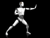 Männlicher Roboter in kämpfender Karatehaltung. Stockbild