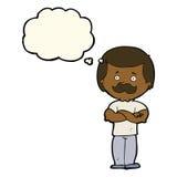 männlicher Schnurrbartmann der Karikatur mit Gedankenblase Lizenzfreies Stockbild