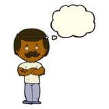 männlicher Schnurrbartmann der Karikatur mit Gedankenblase Stockbilder