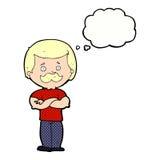 männlicher Schnurrbartmann der Karikatur mit Gedankenblase Lizenzfreies Stockfoto