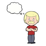 männlicher Schnurrbartmann der Karikatur mit Gedankenblase Lizenzfreie Stockbilder
