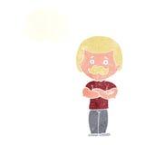 männlicher Schnurrbartmann der Karikatur mit Gedankenblase Lizenzfreie Stockfotos
