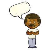 männlicher Schnurrbartmann der Karikatur mit Spracheblase Stockfotografie
