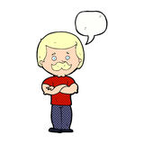 männlicher Schnurrbartmann der Karikatur mit Spracheblase Lizenzfreies Stockfoto