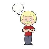 männlicher Schnurrbartmann der Karikatur mit Spracheblase Stockbilder
