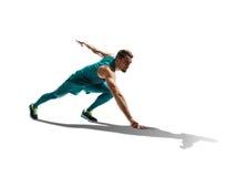 Männlicher Sprinter, der auf lokalisiertem Hintergrund läuft stockbilder
