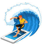 Männlicher Surfer reitet die große Welle, die auf Smartphone steht Stockfoto