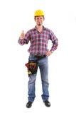 Männlicher Tischler Gesturing Thumbs Up Lizenzfreie Stockbilder