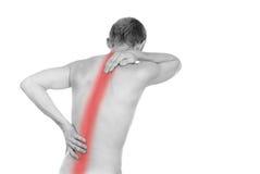 Männlicher Torso, Schmerz in der Rückseite lizenzfreie stockbilder