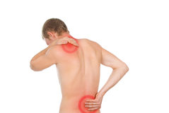 Männlicher Torso, Schmerz in der Rückseite lizenzfreie stockfotos