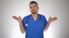 Männlicher tuender Doktor kenne ich nicht Handgeste stock footage