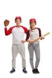 Männlicher und weiblicher Baseball-Spieler Lizenzfreie Stockbilder