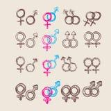 Männlicher und weiblicher Symbolsatz Vektor Lizenzfreie Stockfotografie