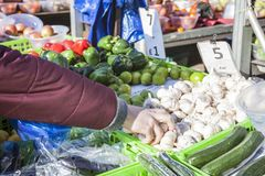 Männlicher Verbraucher an einem offenen Straßenmarkt Einkaufsobst und gemüse - Straßenmarkt Helthy-Lebensmittel lizenzfreie stockfotografie