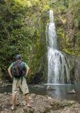 Männlicher Wanderer, der einen schönen Wasserfall betrachtet Stockfotografie