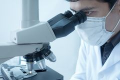Männlicher Wissenschaftler, der das Mikroskop für Chemieprüflinge, überprüfend tut Laborausstattung und Wissenschaftsexperimente lizenzfreie stockfotos