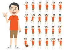 Männlicher Zeichensatz Verschiedene Haltungen und Gefühle stock abbildung