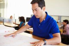 Männliches Architekten-Studying Plans In-Büro Lizenzfreie Stockfotos