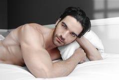 Männliches Baumuster im Bett Stockfotografie
