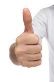 Männliches Handzeichen mit dem Daumen oben Stockbilder