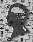 Männliches Hauptschattenbild mit Mäusestattdessen Gehirn Stockfotografie