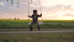 Männliches Kind schwingt auf Baumast, Reiten des kleinen Jungen auf Schwingen, Porträt des glücklichen Kindes, Rest im Park, das  stock video