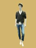 Männliches Mannequin gekleidet in der Jacke und in den Jeans Stockfoto