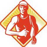 Männliches Marathon-Seitentriebs-Laufen Retro- Stockfotografie