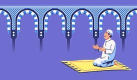 Männliches moslemisches Sit And Pray At Decorative-Moscheentor vektor abbildung