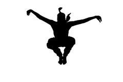 Männliches ninja Schattenbild auf weißem Hintergrund Lizenzfreies Stockbild