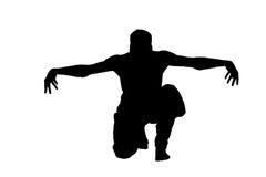 Männliches ninja Schattenbild auf weißem Hintergrund Lizenzfreies Stockfoto
