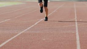 Männliches Training des Sprinters am Stadion, Vorbereitung für Marathon, Übungen stock video footage