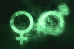 Männliches und weibliches Zeichen, Mann und weibliches Symbol Grünes Symbol stockfotografie