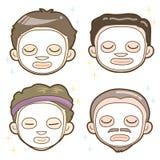 Mäns estetisk ansikts- packeuppsättning royaltyfri illustrationer