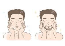 Mäns estetisk uppsättning för hudomsorg stock illustrationer