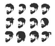 Mäns frisyr med ett skägg och en mustasch royaltyfri illustrationer