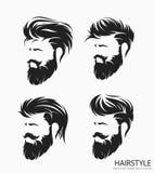 Mäns frisyr med skäggmustaschen royaltyfri illustrationer