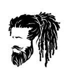 Mäns frisyrer och hirecut med skäggmustaschen Fotografering för Bildbyråer
