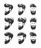 Mäns frisyrhirecut med skäggmustaschframsidan royaltyfri illustrationer