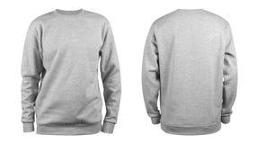 Mäns grå tom tröjamall, från två sidor, naturlig form på osynlig skyltdocka, för din designmodell för tryck, isolator arkivfoto