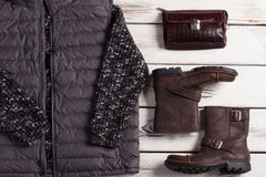 Mäns kläder för modevinter Arkivfoto