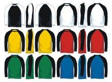 Mäns långa t-skjorta för muffraglan mallar, framdel-, sido- och baksidasikter också vektor för coreldrawillustration stock illustrationer