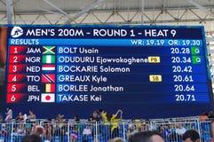 Mäns 200m resultat av värme 9 på Rio2016 Royaltyfri Fotografi