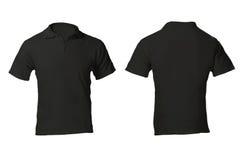 Mäns mellanrumssvart Polo Shirt Template royaltyfria foton