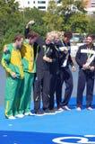 Mäns Rio2016 ceremoni för medalj för par för rodd coxless Royaltyfria Bilder