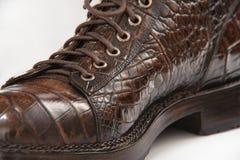 mäns skor som göras från krokodilläder, snör åt Royaltyfri Bild