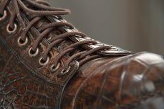 mäns skor som göras från krokodilläder, snör åt Arkivbild