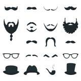 Mäns stöttor för skägg- och mustaschstilar för designeps för 10 bakgrund vektor för tech Arkivfoton